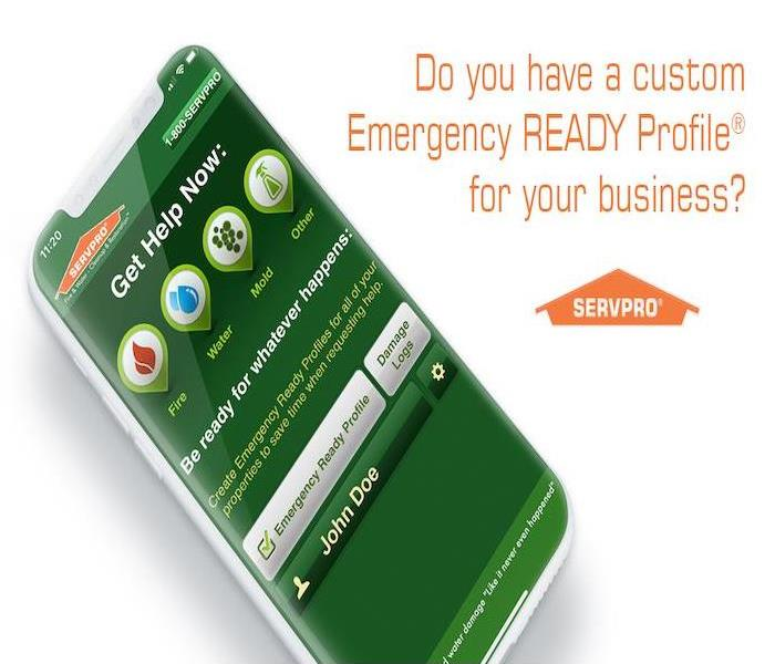 Phone with SERVPRO Emergency Ready Profile on the screen.