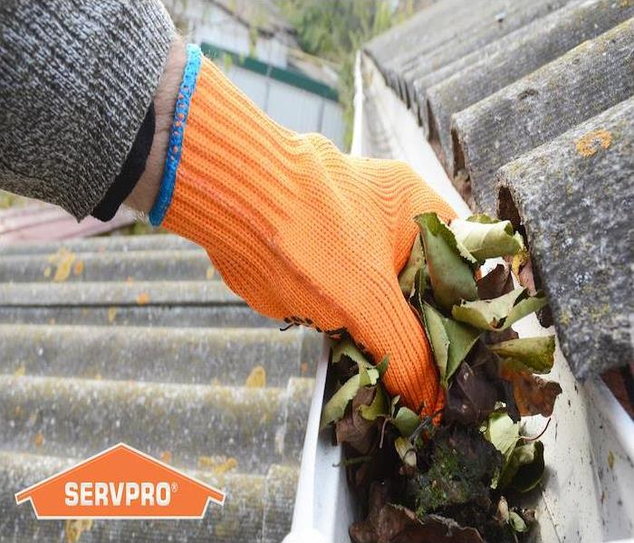 Hand with orange glove cleaning leaves out of a roof gutter.