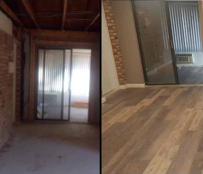 On left water damaged commercial space with studs showing, on right restored lobby with new light hardwood floors.